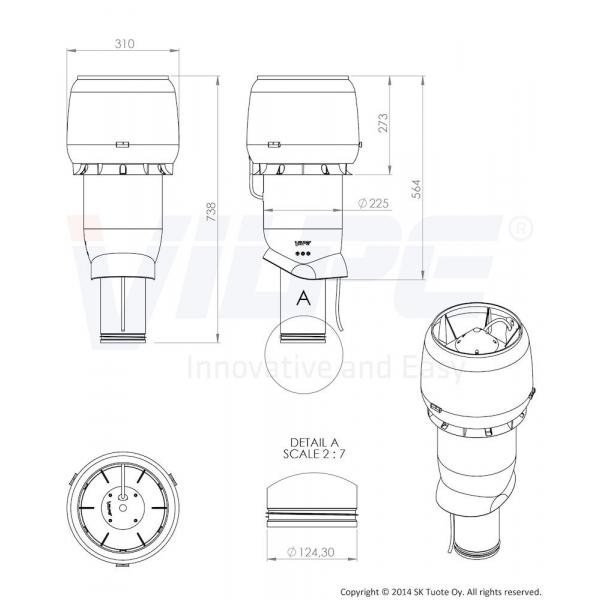 Vilpe E190P 125/500 Svart Takfäkt Dimension