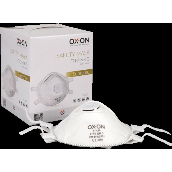 Ansiktsmask FFP3 med ventil 5-pack OX ON