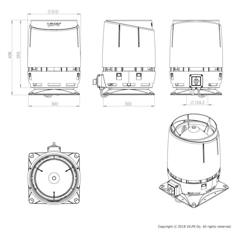 ECo125S FLOW TAKFLÄKT dimensioner