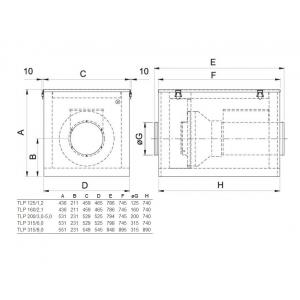 Systemair TLP 315mm 6,0 dimensioner